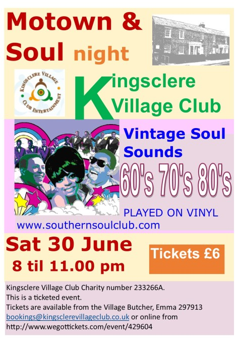 Motown & Soul Kingsclere Village Club 30 June