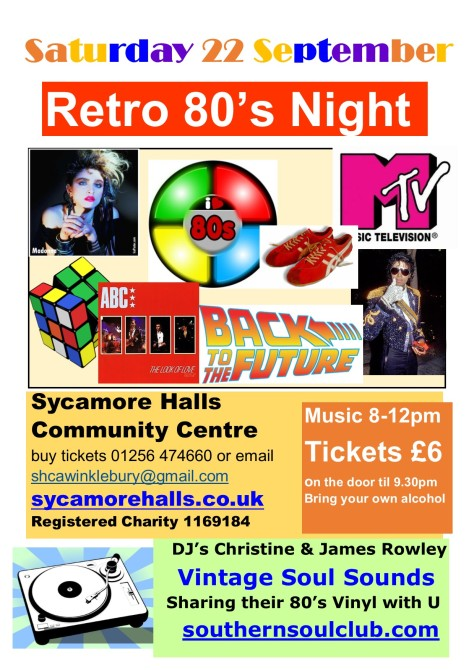 Retro 80's Sycamore Halls Community Centre 22 September 2018