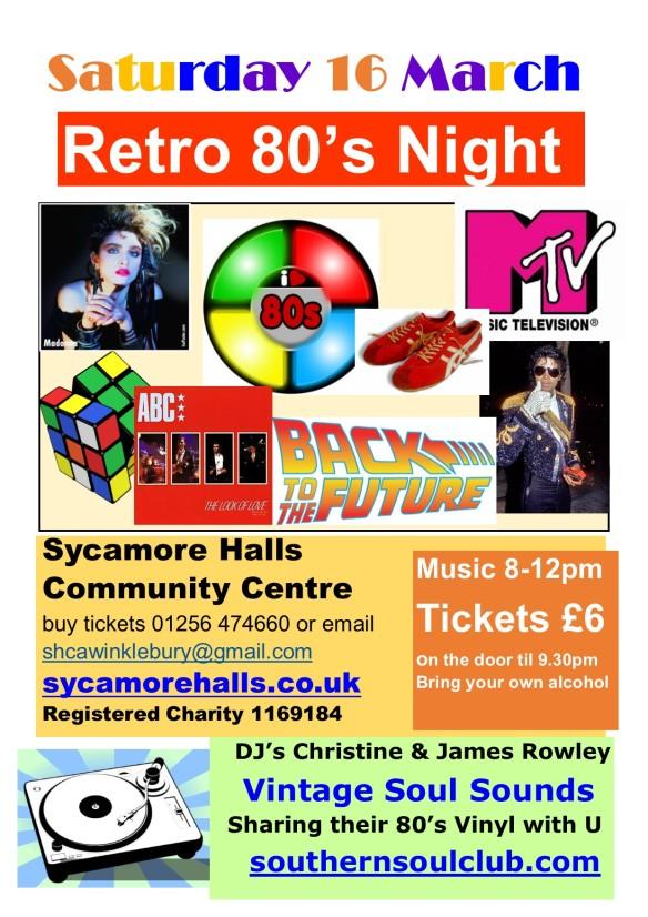 Retro 80's Sycamore Halls Community Centre 16 March 2019